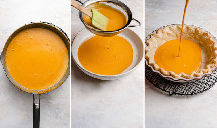 Three photo collage of straining custard mixture and pouring into pie crust.