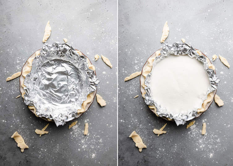 Pie dough covered in foil and filled with sugar.