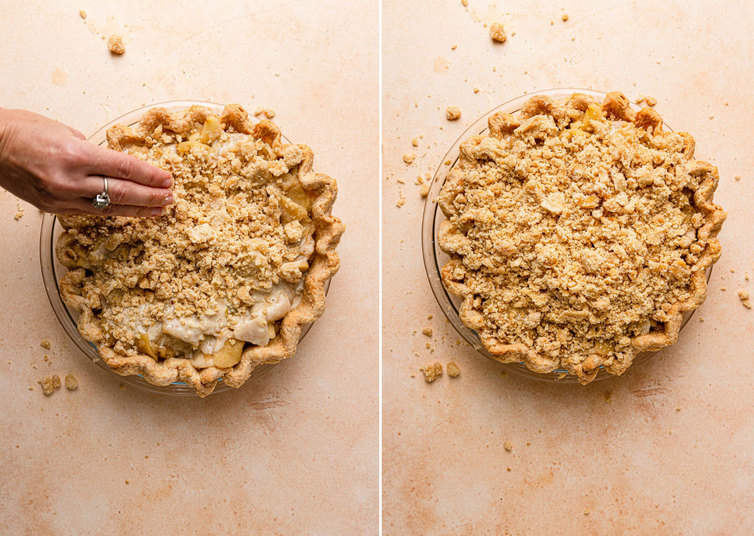 Topping a Dutch apple pie with streusel.