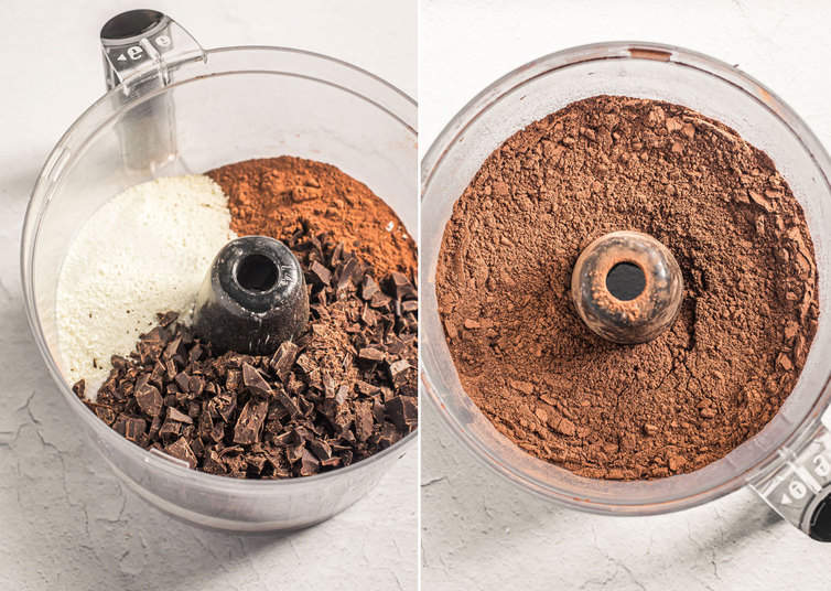 Ingredients for hot chocolate mix in food processor.