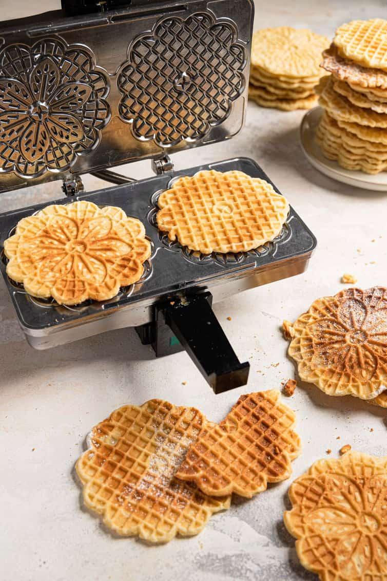 Pizzelle on waffle iron.