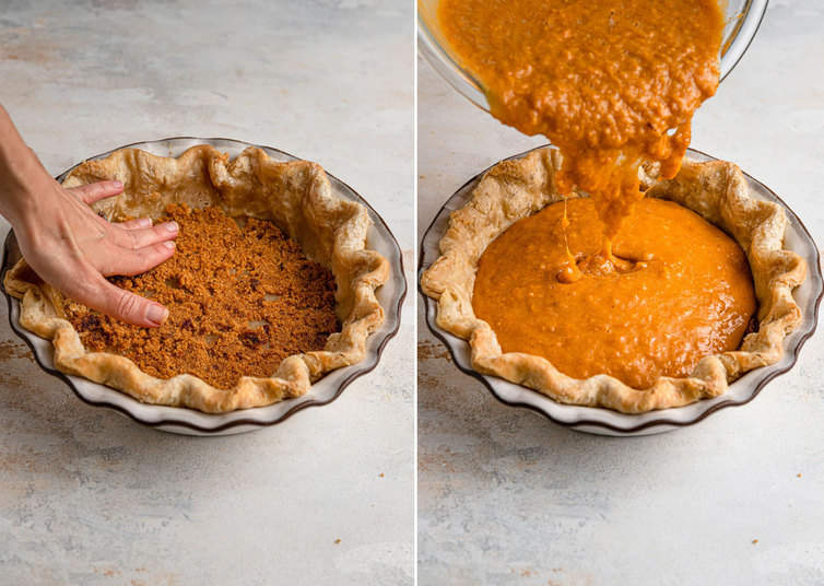 Filling a pie shell with sweet potato pie filling.