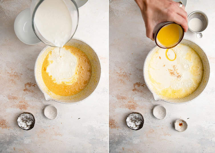 Completing mixing buttermilk pie filling.
