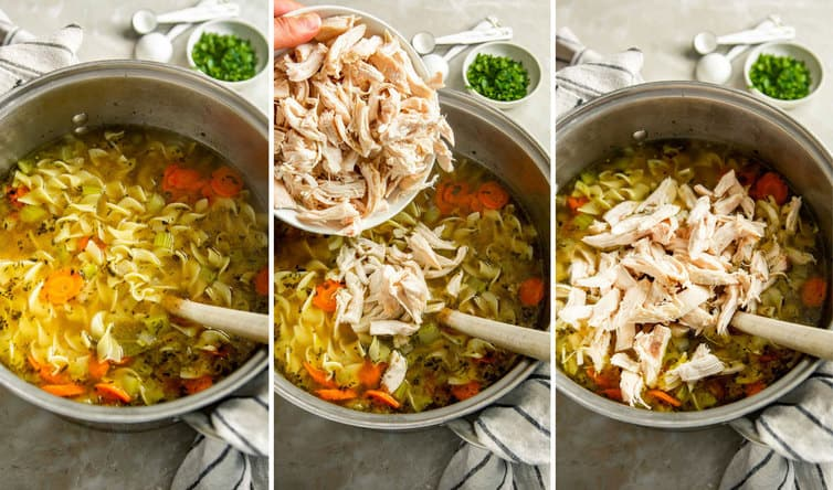 Step by step photos for making chicken noodle soup.