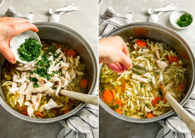 Adding parsley and bay leaf to chicken noodle soup.