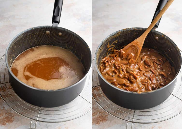 Making caramel and stirring in pecans.