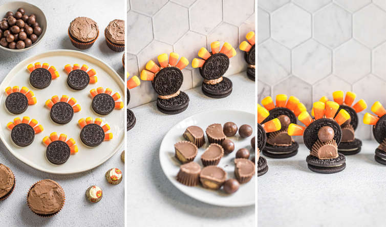 Step-by-step instructions for assembling turkey cupcakes.