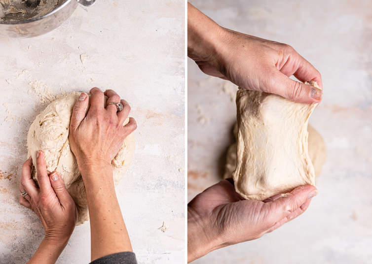 Kneading bagel dough by hand then performing a windowpane test.