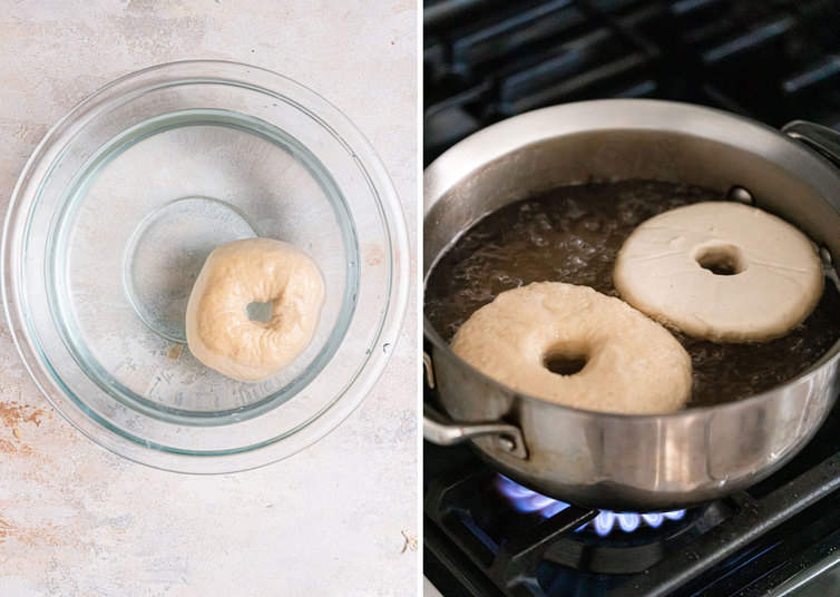 A bagel in a bowl of water, then being boiled on the stovetop.