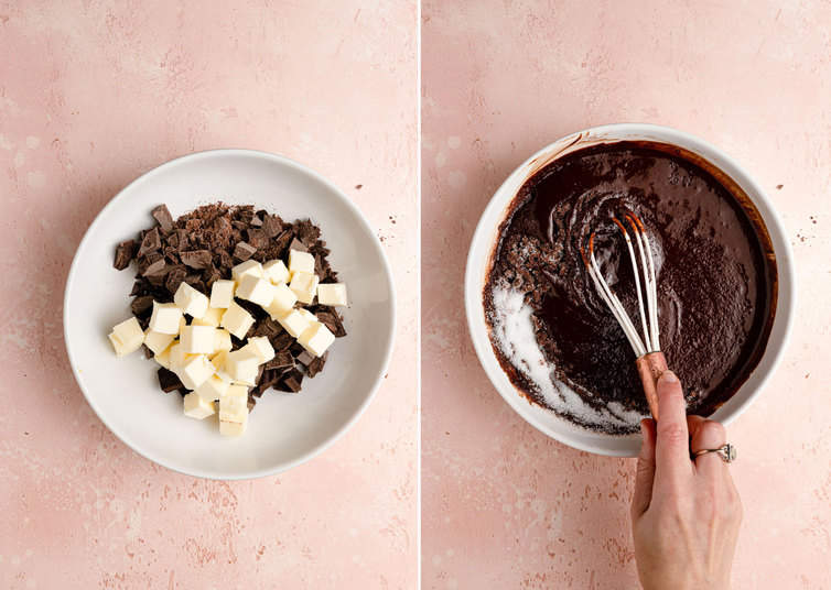 Melting butter and chocolate, then whisking in sugar.