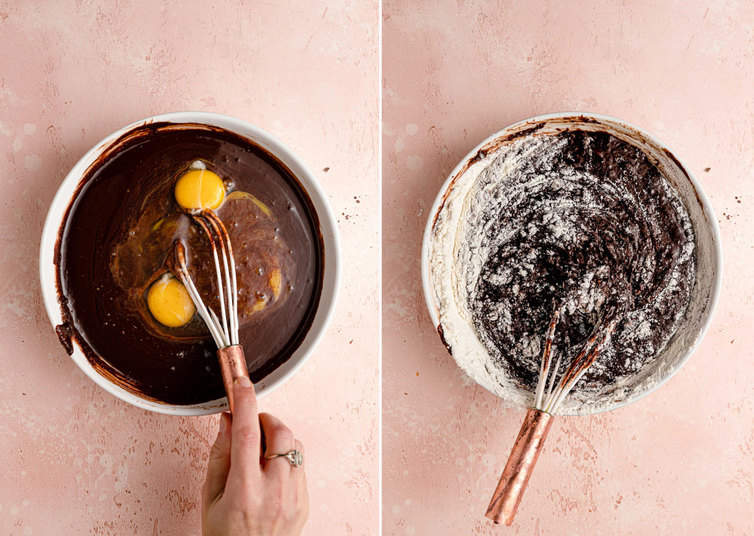 Whisking eggs into brownie batter, then folding in dry ingredients.