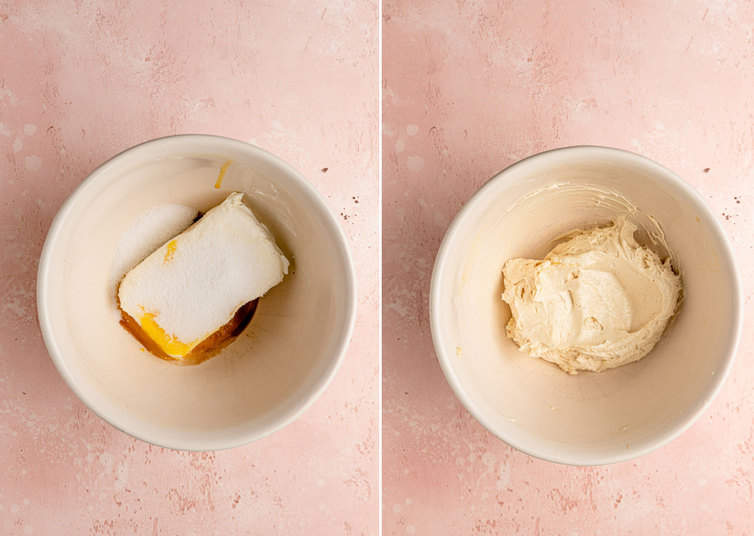 Cheesecake filling before and after mixing in a bowl.