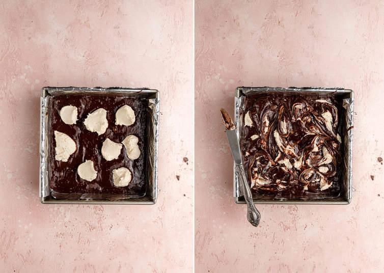 Overhead photos of cheesecake brownie batter being swirled.