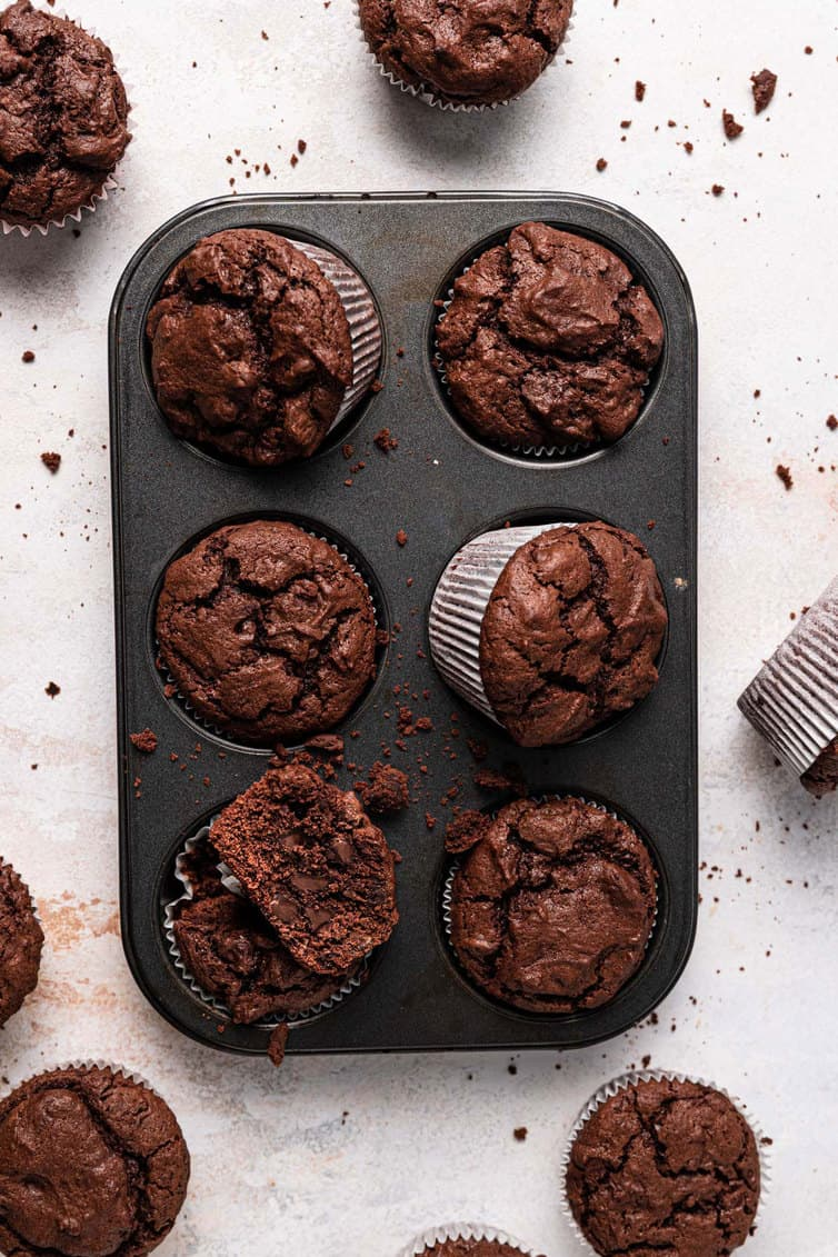 Overhead photo of chocolate muffins in a muffin tin.