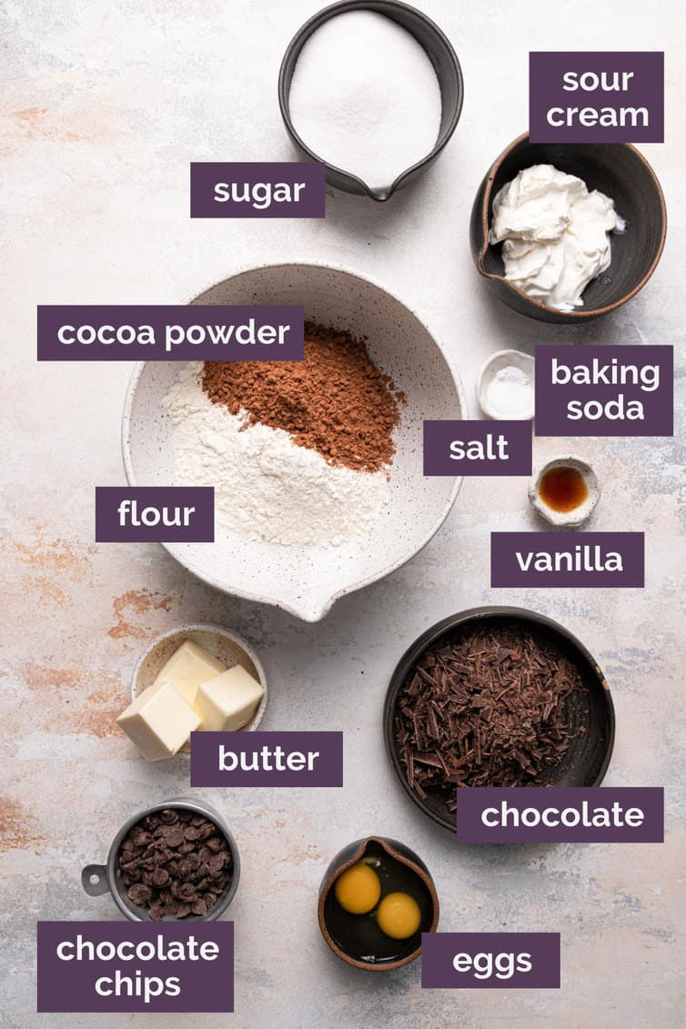 Ingredients for chocolate muffins prepped and labeled.
