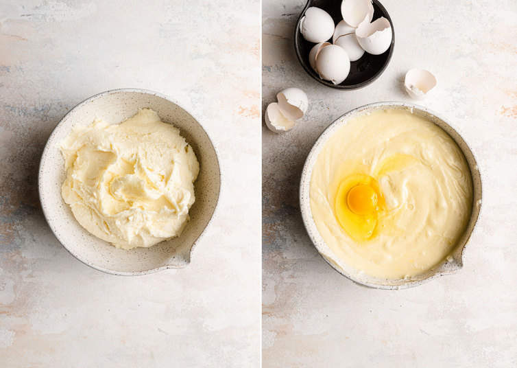 Mixing together batter for cream cheese pound cake.