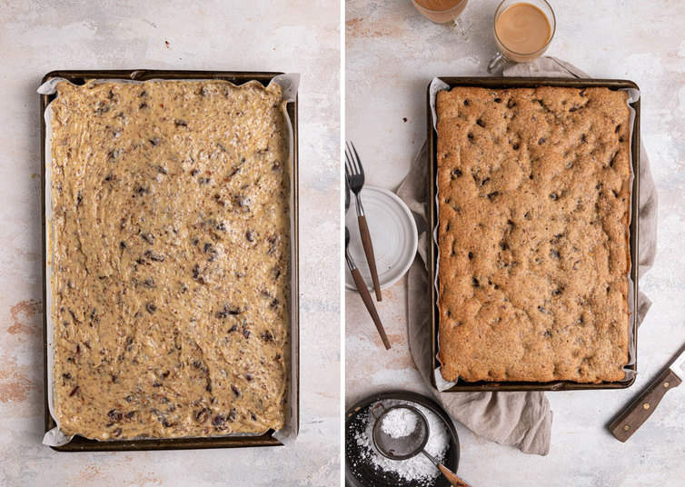 Date bar dough spread in pan, and then after baking.