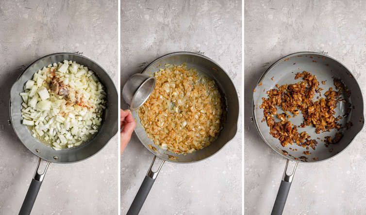 Step-by-step photos of caramelizing onions.