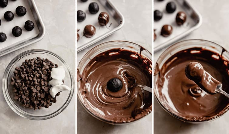 Step by step photos of dipping Oreo truffles in melted chocolate.
