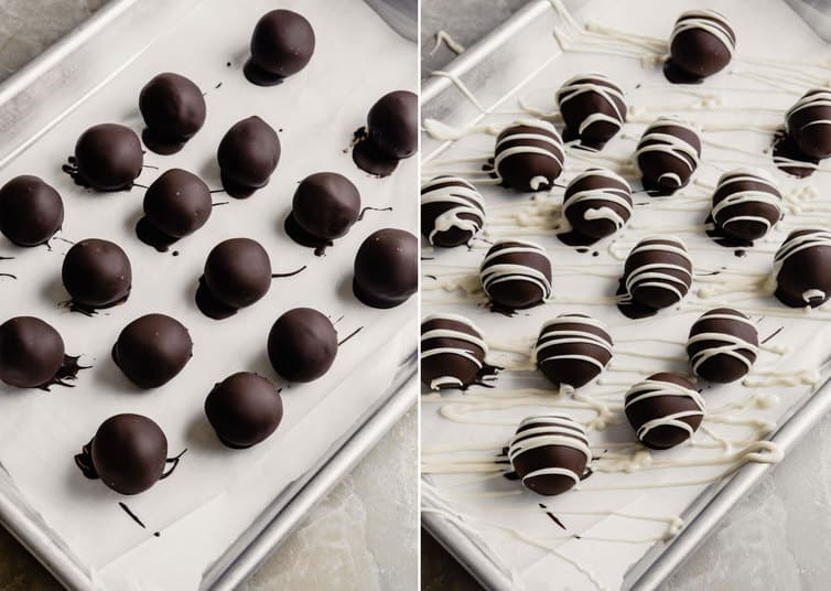 Oreo truffles covered in chocolate and drizzled with white chocolate.