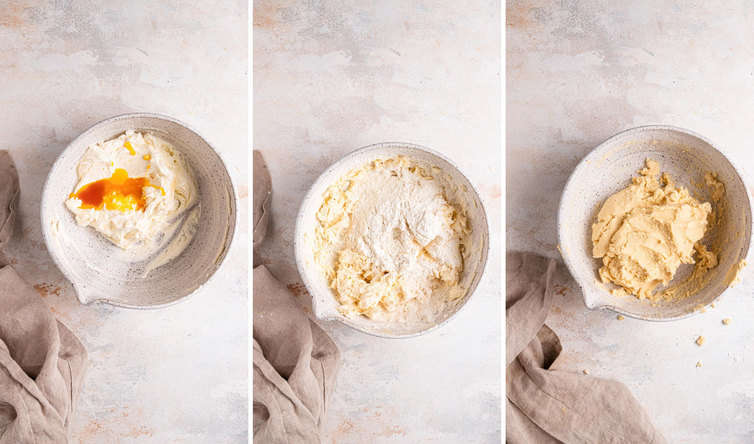 Side by side images of hot to make the dough for alfajores.