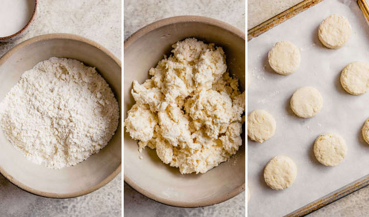 Three step photos of how to make biscuits with the flour mixture on the left, dough in a bowl in the middle, and biscuits on a baking sheet on the right.