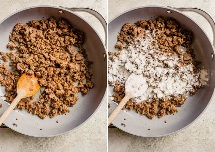 Side by side photos of breakfast sausage in a pan with a wooden spoon on the left and the flour topping the sausage in a skillet with a spoon on the right.