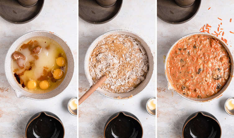 Step-by-step photos of mixing together batter for carrot cake.