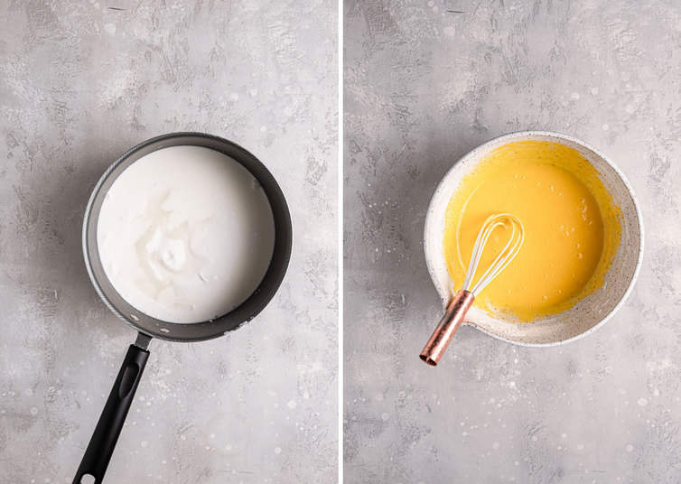 A side by side image the left the coconut milk in a sauce pan the right a bowl with the egg yolks whisked smooth.