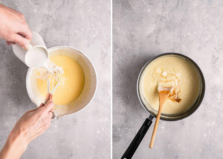 A side by side image on the left a bowl with eggs and cream the right a sauce pan with coconut cream filling.