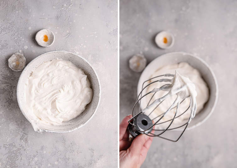 A side by side picture of whipped cream in a white bowl on the left and fully whipped whipped cream with a wire whisk on the right.
