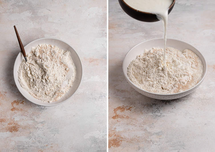 Side by side process photos on the left a white bowl the the dry ingredients and on the right the liquid ingredients being added to the dry.