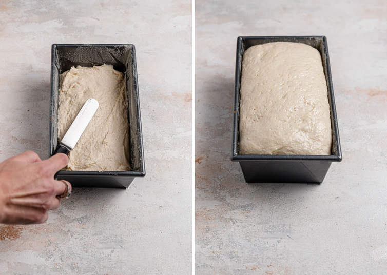 A side by side photo of the process shots on the left a hand levels the dough in a loaf pan and on the right the dough has doubled in size in the loaf pan.