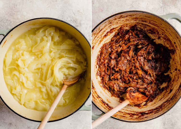 Step by step photos of braised onions in a pot.