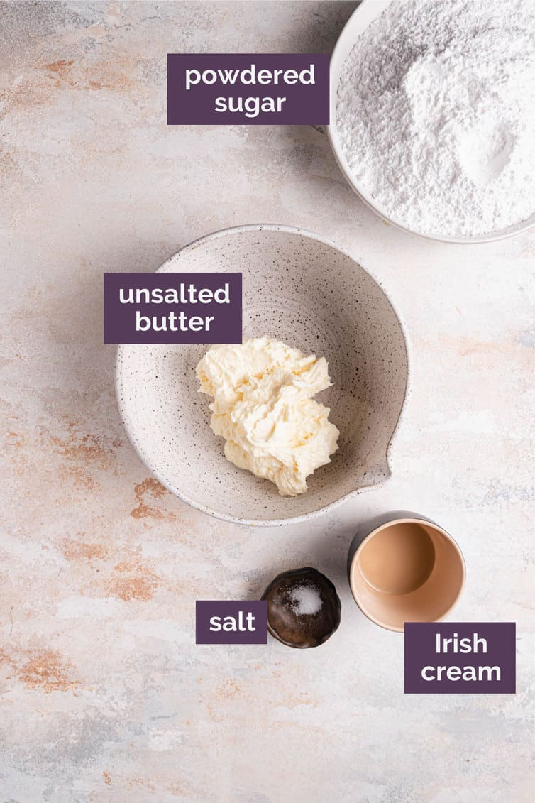 Ingredients for the Irish cream frosting in bowls.