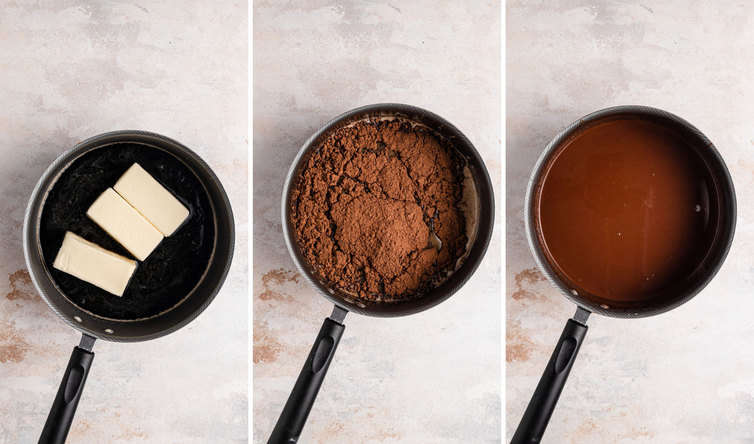 Three side by side pictures of the melted chocolate, the first shows butter melting in a pot, the second shows cocoa powder in the pot, and the third shows the melted mixture in the pan.
