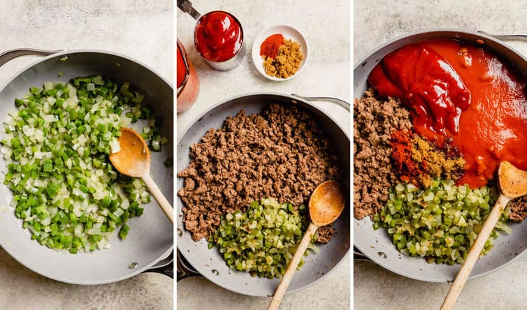 Step by step photos of the sloppy joe meat being made in a skillet with a wooden spoon.