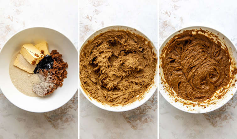 Three side by side photos of the steps to make the oatmeal cream pie batter.
