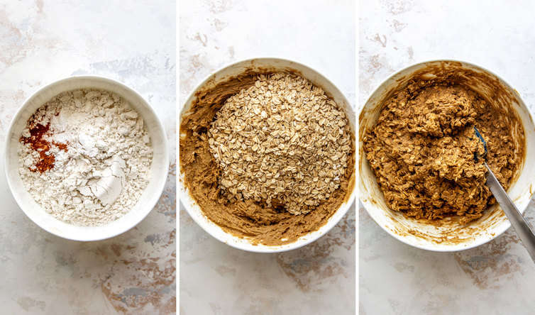 Three side by side photos of how to add the dry ingredients to the batter.