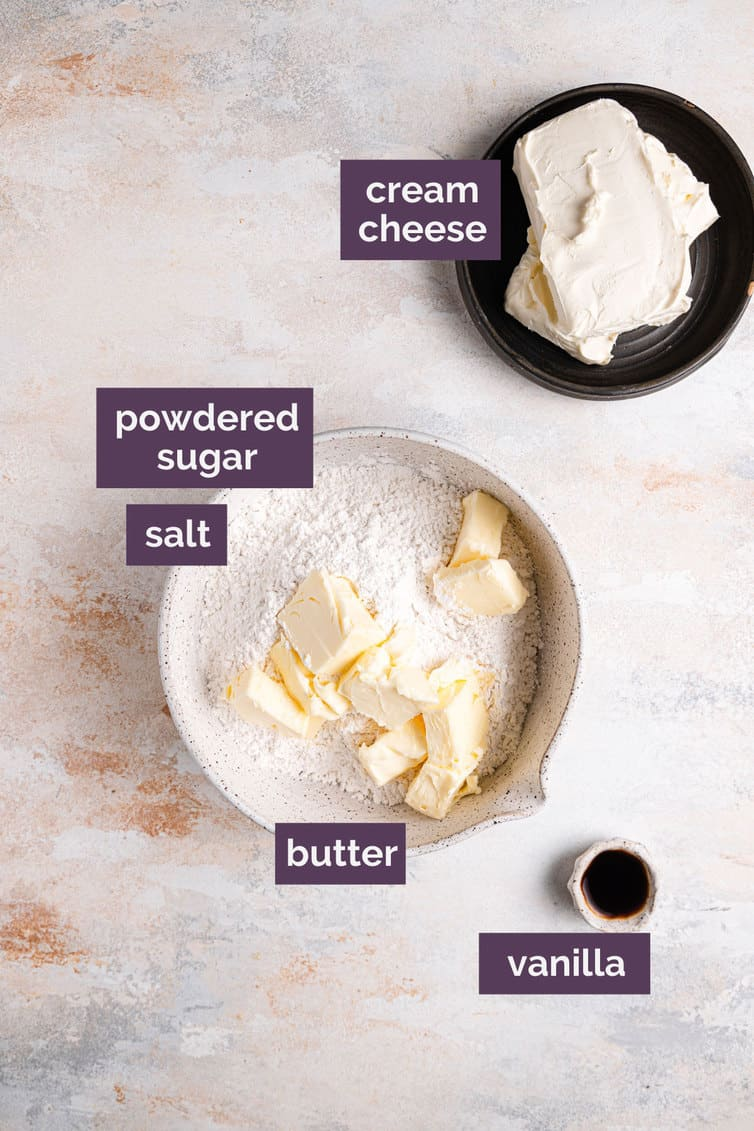 The ingredients for making cream cheese frosting.