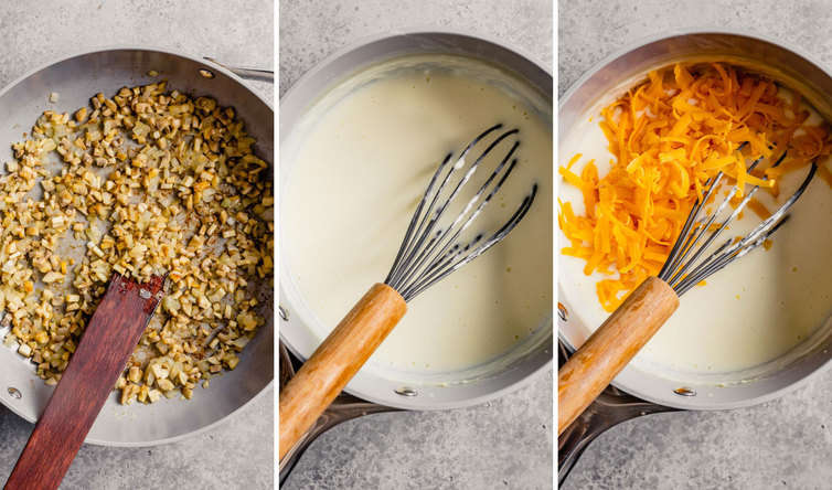 A picture on the left of cooking the mushrooms, the middle of making the sauce, and the right the sauce topped with shredded cheese.