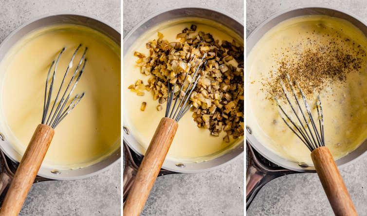 Three pictures of making the cheesy sauce with a whisk in the pot.