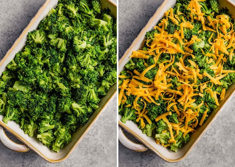 Side by side images of broccoli casserole with blanched broccoli on the left in a casserole dish and shredded cheese on top of broccoli on the right.