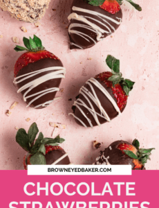 A pink background with six chocolate strawberries drizzled with white chocolate and a pink rectangle at the bottom with the words chocolate strawberries at the bottom in white.