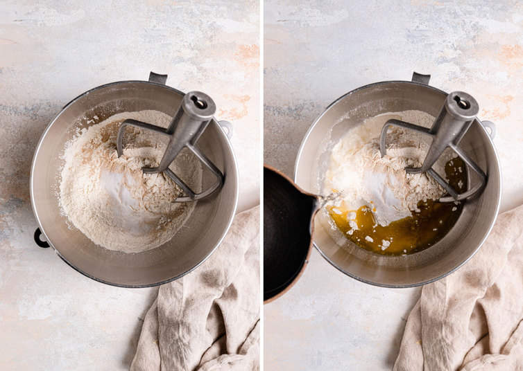 Two side by side photos of mixing the focaccia dough with a paddle attachment.