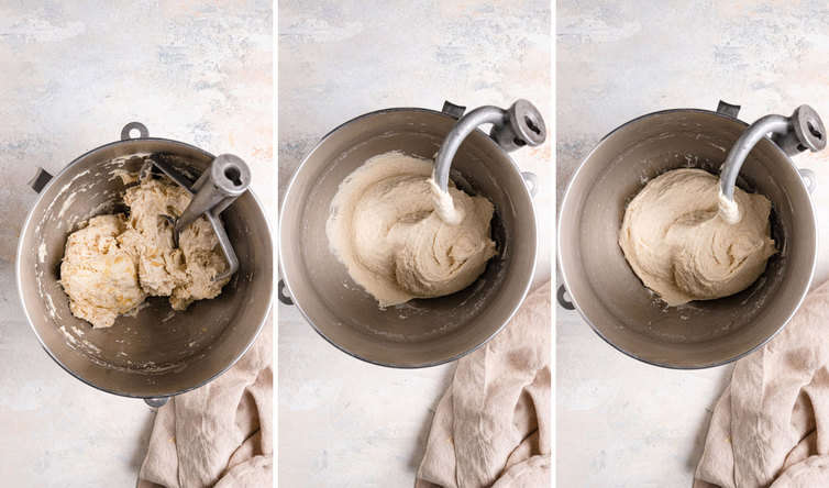 Three side by side photos of mixing the focaccia dough with a dough hook.