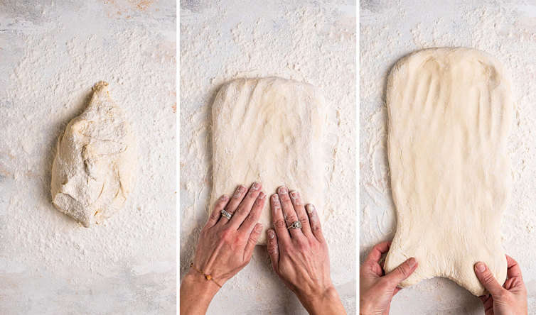 Three side by side photos of how to stretch out focaccia dough.