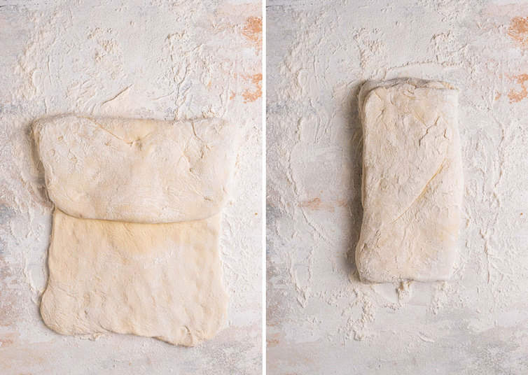 Side by side picture of how to fold the focaccia dough.