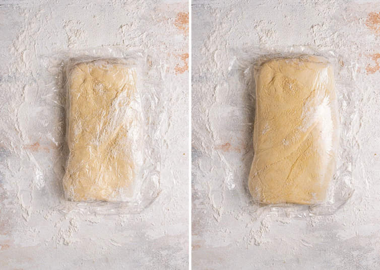 Dough wrapped in plastic wrap on the left and dough double in size on the right.