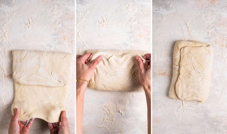 Three side by side photos of hands folding dough into a tri-fold.